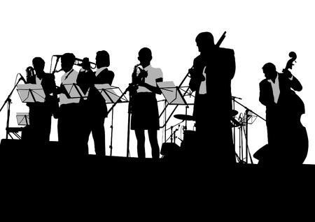 trombon: Vectoriales músicos de dibujo de jazz en el escenario Vectores
