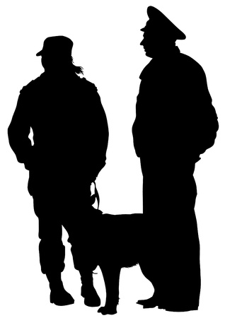 guard dog: Vector drawing of a police man whit dog