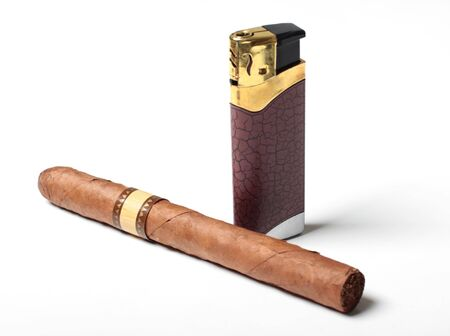 Color photo of a large cigar and cigarette lighters on white background Stock Photo - 18731993
