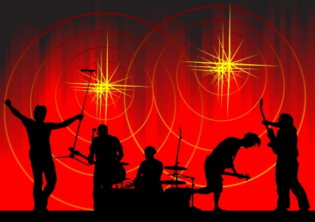 image of musical group and light show