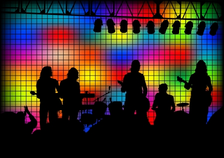image of musical group and light show Vector