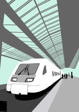 turnout: Vector image of a modern high-speed train at the railway station