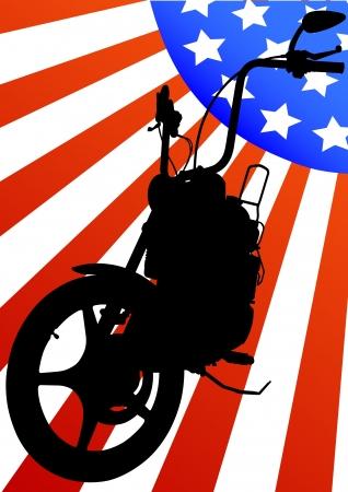 Vector drawing a big retro motorcycle Vector