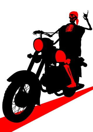 image of a skeleton on old motorcycle Vector