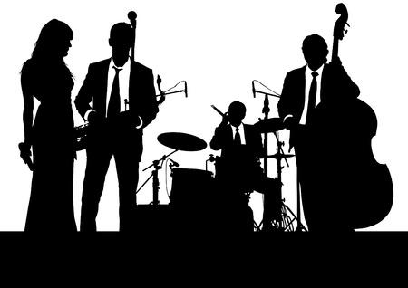tekenen jazzmuzikanten op het podium