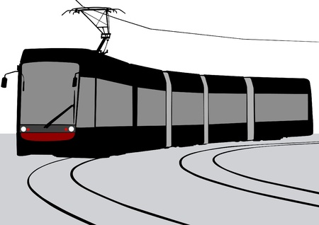 streetcar: illustration of urban tram rails