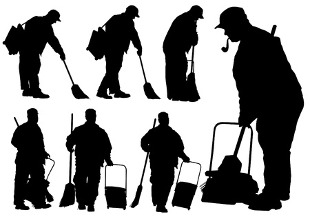 drawing of janitors in uniform with tools Vector