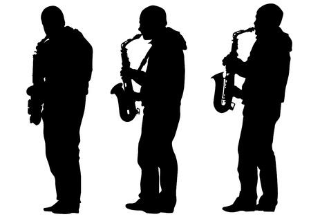 tekening van een man met een saxofoon op het podium