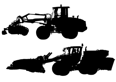 drawing of large tractors for construction Stock Vector - 19258704