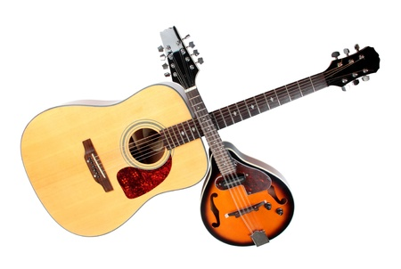 Kleur foto van een mandoline en gitaar in landelijke stijl