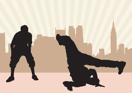 image of hip hop dancers in city Vector