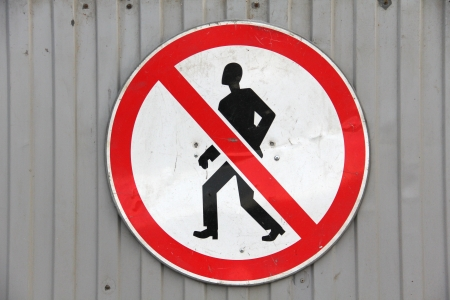 Color photo of a road sign for pedestrians photo
