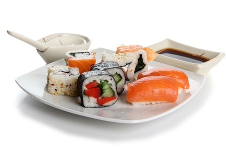 soysauce: Color photograph of Japanese sushi on a plate Stock Photo