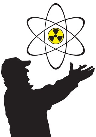 drawing of a man and a sign of radiation Stock Vector - 19367887