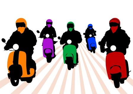 vespa: imagen de los j?venes en una moto