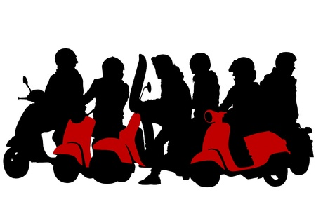 image of young people on a scooter Vector