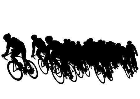 razas de personas: Dibujo vectorial de un grupo de ciclistas en la competencia
