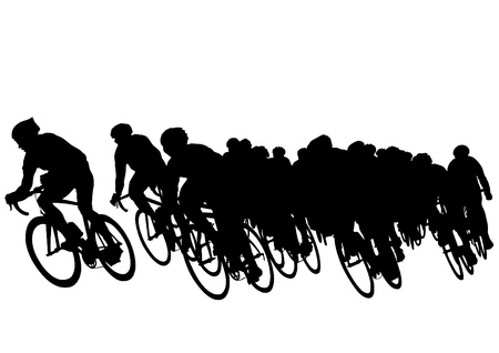 cyclist silhouette: Vector drawing of a group of cyclists in competition