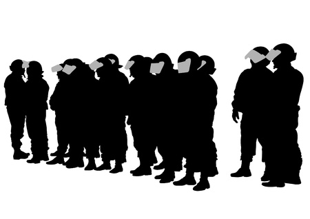 cordon: Vector drawing of special police force