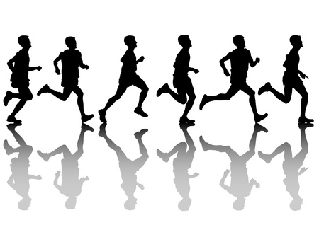 running woman: Vector drawing athletes on running race Illustration
