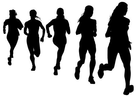 mujeres corriendo: Dibujo vectorial atletas en carrera pedestre Vectores