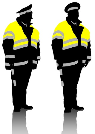 Vector drawing traffic officer in uniform Vector