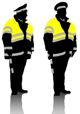 Vector drawing traffic officer in uniform