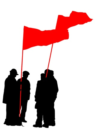 Vector drawing of a group of people with flags Vector