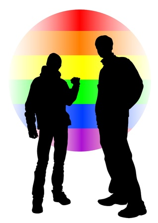 gay marriage: Vector drawing of a gay rainbow sign