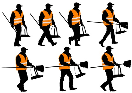 janitor: Vector illustration janitor in signal vest