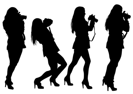 Vector drawing girls with a camera