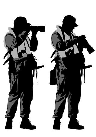 Vector drawing man with a camera