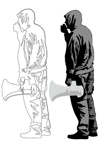 activism: Ilustraci�n vectorial de un hombre joven con un meg�fono Vectores