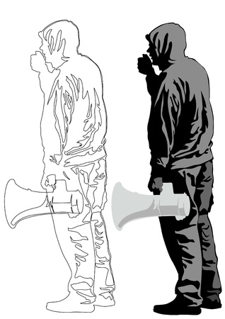 activism: Vector illustration of a young man with a megaphone Illustration