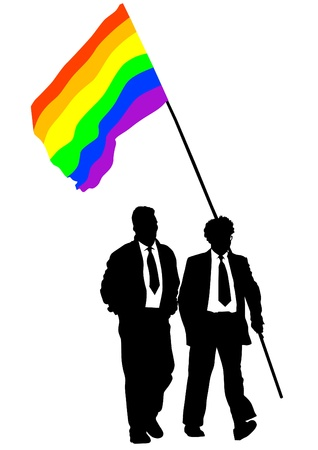 gay marriage: Vector drawing of a gay rainbow flag