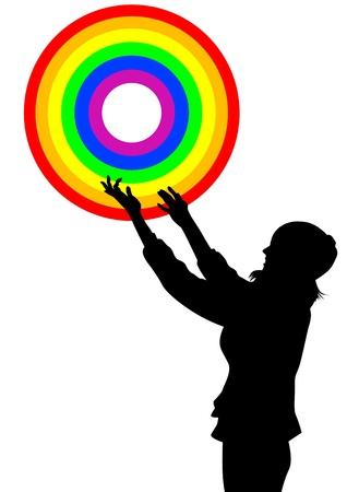 preferencia: Dibujo vectorial de un anillo de arco iris de la muchacha