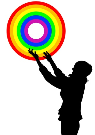 bisexuality: Vector drawing of a girl rainbow ring