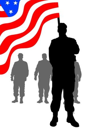Vector tekening van een groep soldaten onder Amerikaanse vlag