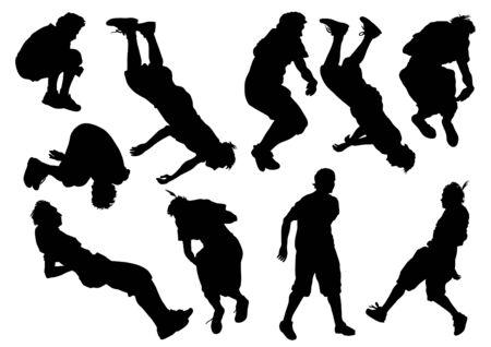parkour: ilustraci�n de un hombre joven en un salto Vectores