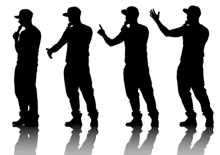 musician silhouette: Vector drawing musicians style of rap Illustration