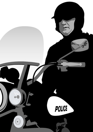 motorcycle officer: drawing of a police officer on a motorcycle Illustration