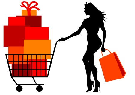 grocer: Vector drawing of a woman with shopping trolley