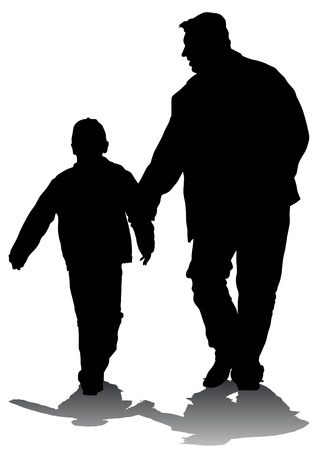 Vector drawing of a father and son out for a walk Vector