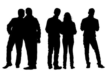Vektor-Zeichen-Männer und Frauen auf der Straße Standard-Bild - 21088810
