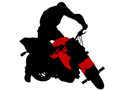 Vector image of young people on a sport bike Vector