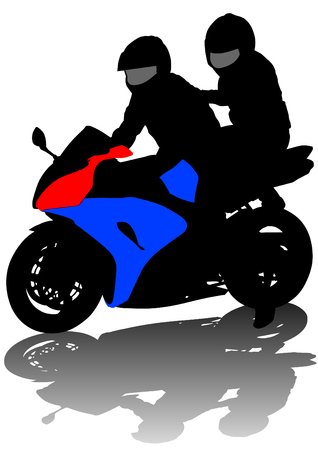 Vector drawing a girl and man on a motorcycle Vector
