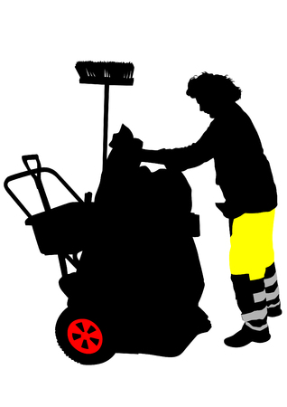 janitor: Vector illustration of old janitor at work Illustration