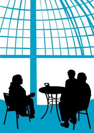Vector illustration of people at a table in a cafe Vector