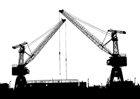 Vector drawing silhouettes of cranes