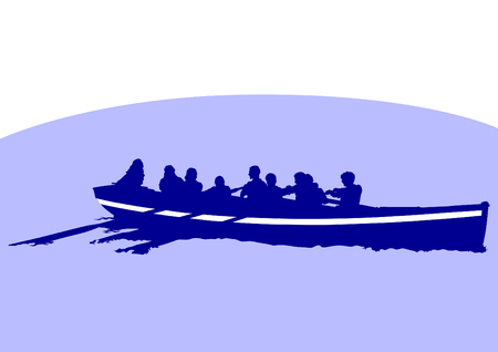 oars: Vector drawing of a boat with oars in the sea Illustration